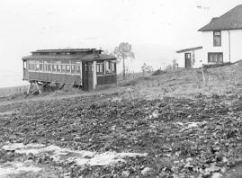 """Streetcar converted to a toolshed, Mount Newton Cross Road."" RBCM&A/D-07567."