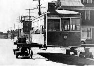 """BC Electric Streetcar Ready For Conversion To Bunkhouse By Mayo Logging Co. Store Street, Victoria."" RBCM&A/E-01972."
