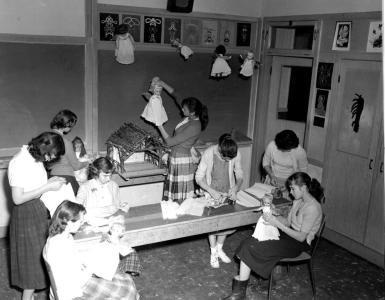 """Preparing Christmas Display Lumby Junior Senior High School."" [1958]. I-23551/RBCM&A"