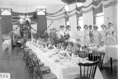 """Kamloops Museum photo; Christmas in the nurses' dining room; Royal Inland Hospital, Kamloops."" [ca. 1900]. Image B-02846/RBCM&A"