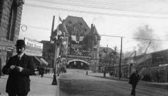 Canadian Pacific Railway Station and Granville Street decorated for the Duke of Connaught's visit, September, 1912. BC Archives.