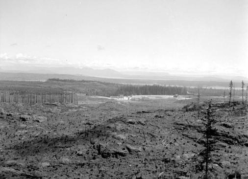 "BC Archives. Item NA-09029. ""Forest Service Elk Falls dam from lookout."""